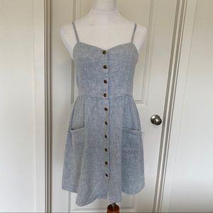 Cope linen/cotton button down tank dress blue M